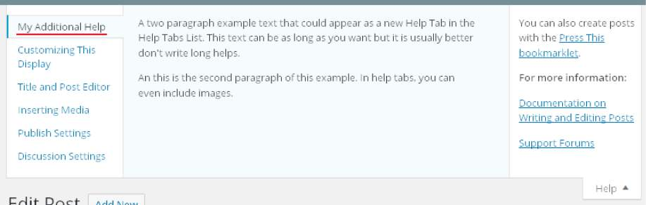 An Example of a new Help Tab for the WP Post Edit Screen