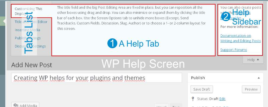 WP Help Screen structure